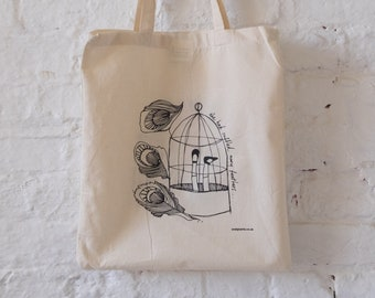 Original E A U design. Hand screen-print tote. Made in Manchester, UK