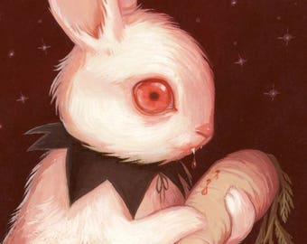 Bunnicula Print - 5x7 Creepy Cute Illustration