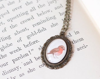 Tiny Robin Pendant - Miniature Painting Necklace