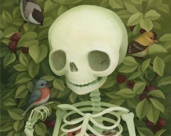 "8x10 Skeleton Art Print - ""My Hearts's Still Beating"""