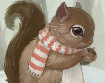 Squirrel with Scarf - 4x6 Mini Art Print