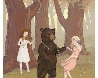 Dance With A Bear 8x10 Print - Grimm's Fairytales