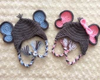 Crochet Elephant Twin Hats - MADE TO ORDER - Baby Pink & Baby Blue