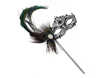Simone Laser-Cut Metal Black Venetian Women/'s Mask Tubular Flower A-2214B-R
