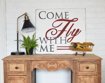 Nursery Art - Vintage Airplane Art - Aviation Art - Nursery Wall Art - Come Fly With Me - Office Decor - Travel Theme