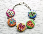rainbow sugar skull bracelet charm day of dead halloween
