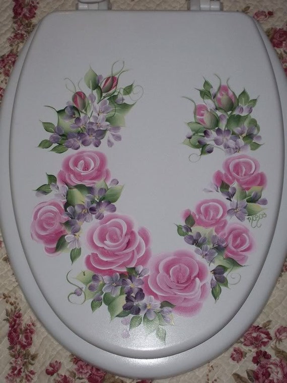 Enjoyable New Elongated Wood Toilet Seat Hand Painted Pink Cottage Roses Floral Bathroom Decor Victorian French Country Powder Room Lamtechconsult Wood Chair Design Ideas Lamtechconsultcom
