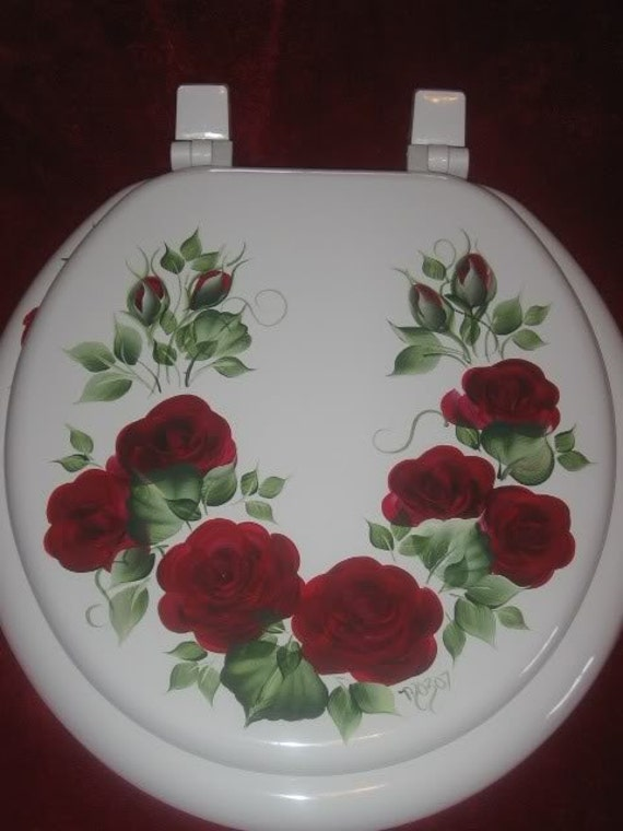 HP ROSES//TOILET SEAT//SOFT ELONGATED WHITE BLUE ROSES