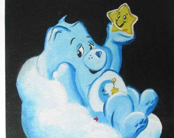 Care Bears Bedtime Bear Art Painting Cloud Flat Canvas - 8 x 10