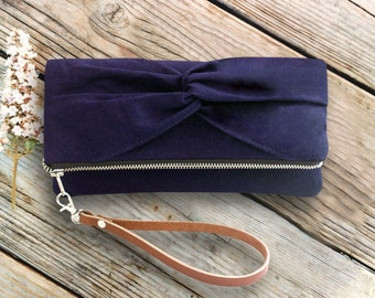 Personalized Knotted Bow Foldover Wristlet Clutch, Monogram Photo Gift Idea, Custom Linen Purse For Rustic Wedding More Colors Available