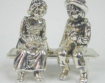 Silver Young Lovers On Bench -  Large Miniatures - Silver - 925 Silver - Sculpture - Wedding -Unique