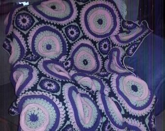Ringtoss Afghan - Pinks & Purples - 128