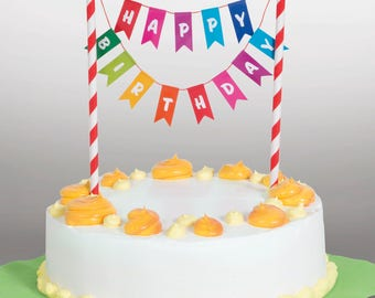 Happy Birthday Bunting Cake Topper In Rainbow 49578