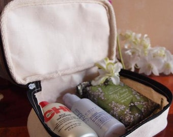 diy canvas bag diy bridesmaid bag travel makeup bag Grey Recycled canvas travel kit bag personalizable makeup bag