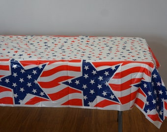 4th Of July Tablecloth Independence Day Stars And Stripes by leah/_day Wholecloth Cotton Sateen Tablecloth by Spoonflower