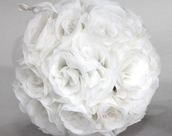 White silk flowers etsy silk kissing pomander flower ball white mightylinksfo