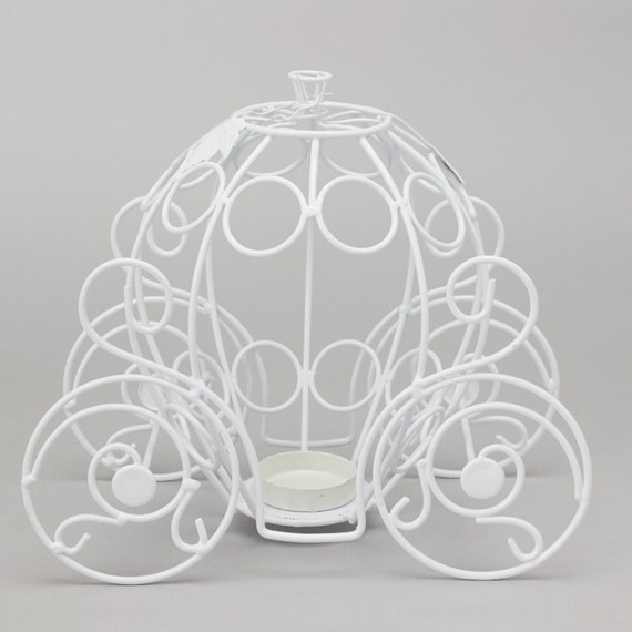 Metal Pumpkin Carriage 10 In White Etsy