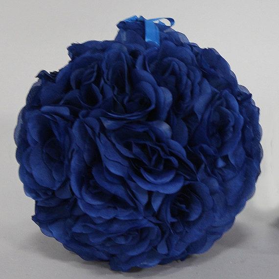 Soie Baiser Pomander Fleur Boule Bleu Royal Etsy