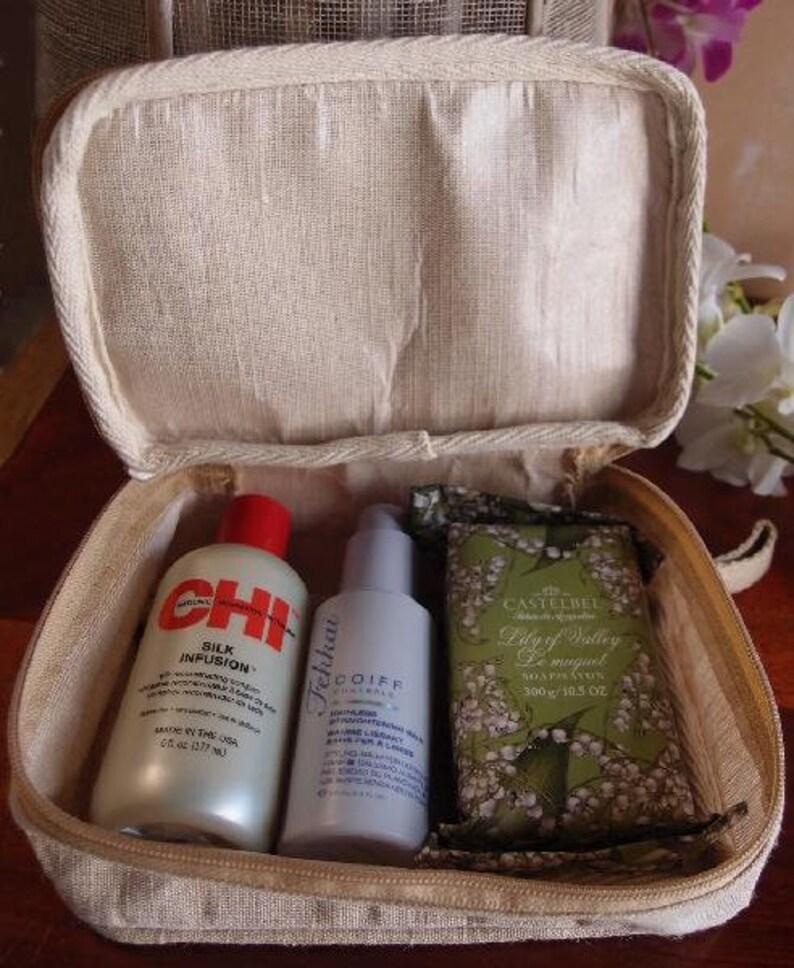 jute bag Jute blend travel kit bag personalizable makeup bag travel makeup bag diy bridesmaid bag burlap bag diy canvas bag