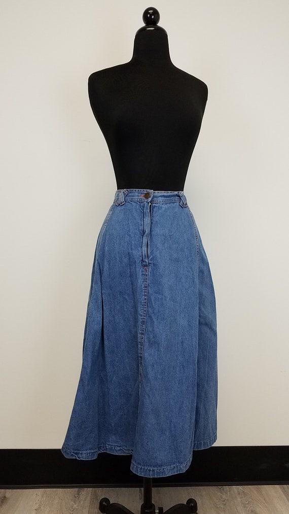 Vintage 1990's Rose Hips Blue Denim Mid Calf Lengt