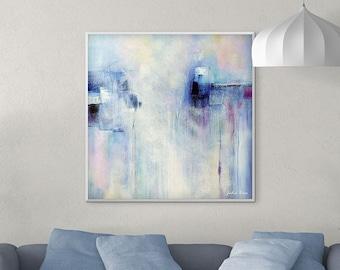 Large Wall Art, Abstract Art Print, Canvas Wall Art, Giclee PRINT Blue Purple Pink, Minimalist Painting Canvas Print Square Art Print 40x40