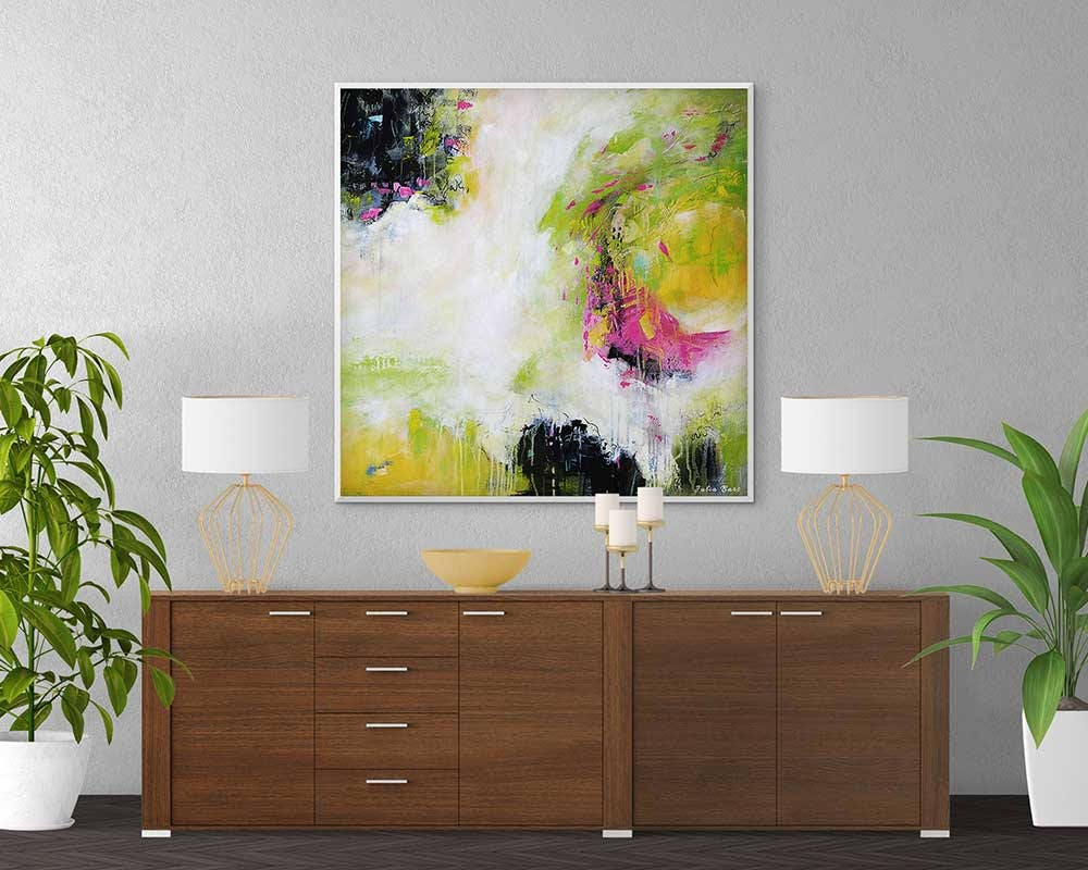 Large Abstract Painting Pink Black Yellow Green White