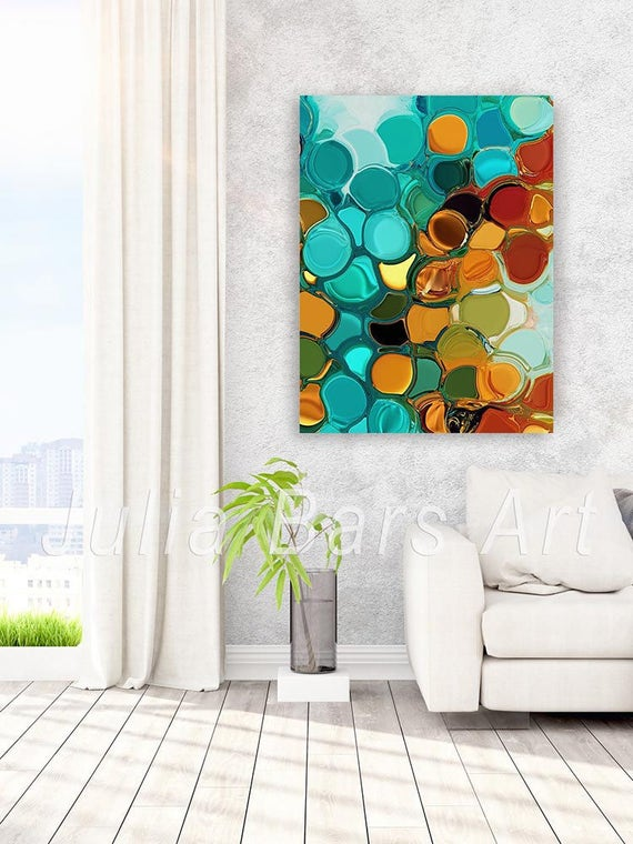 Large Abstract Art Print Blue Orange Teal Green Turquoise Etsy
