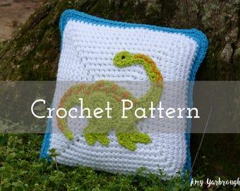 CROCHET PATTERN Diplodocus Dino Mini Pillow   For Boys   Kids   Dinosaur   Accent Pillow   Bedroom   Decor