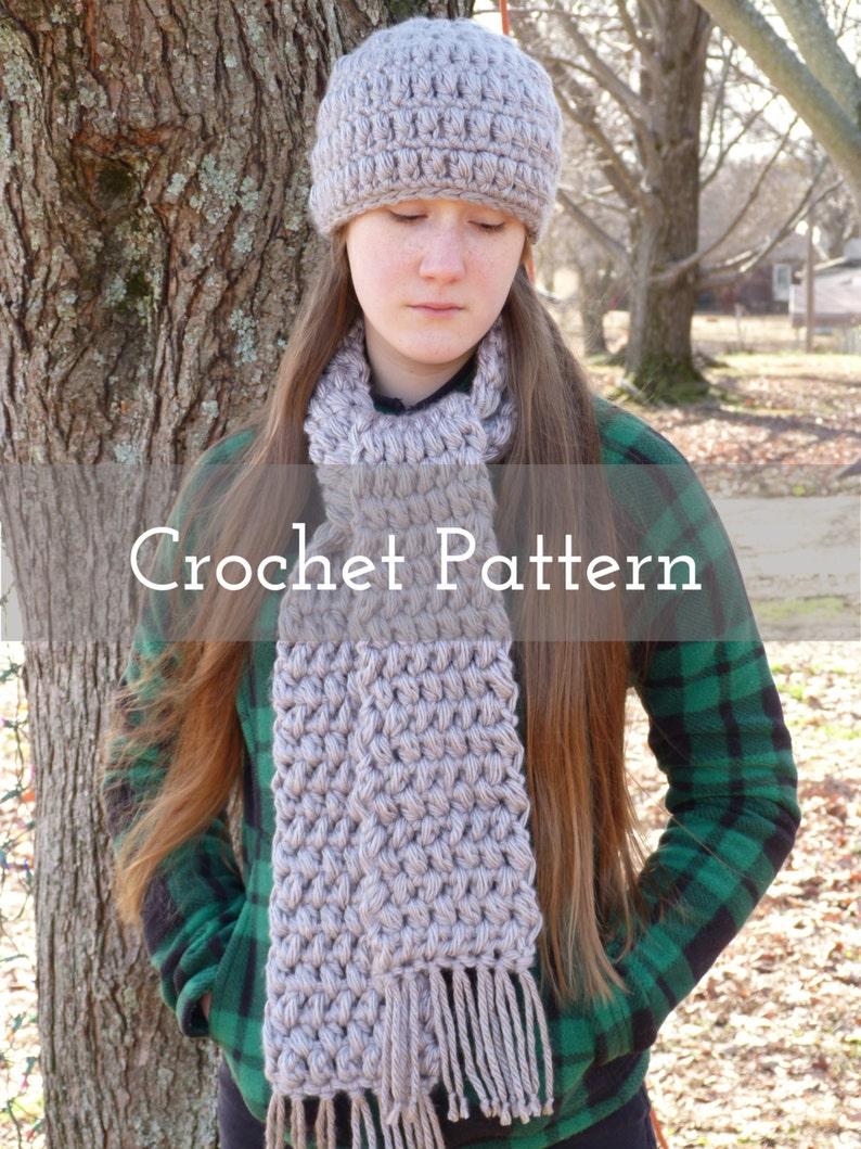2ad7b58bb89 CROCHET PATTERN Chunky Puff Stitch Cap and Scarf Set Hat