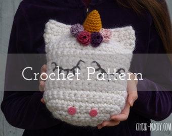 CROCHET PATTERN Udora Unicorn Pillow   Stuffie   Cuddler   Enchanted   Horse   Flowers   Horn   Gold   Pink   Purple   Tuff Puff   Dishie