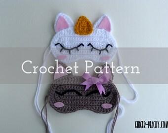 CROCHET PATTERN Cat & Unicorn Sleep Masks   Sleepover   Gifts for girls   Kitty   Kawaii   Gray   White   Horn   Gold   Blush   Face   Eyes