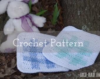 CROCHET PATTERN Gingham Lovey-Sized Baby Blanket   Children   Plaid   Kids   Nursery   Classic   How to   Graph   Bernat Yarn   Blue   White