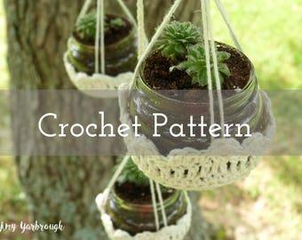 CROCHET PATTERN Mini Jar Basket Hangers   Yarn   Gardening   Lawn   Decor   Hanging Pots   Tealights   Candles   Macrame