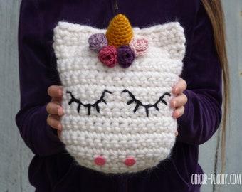 Udora Unicorn Pillow   Tuff Puff   Super Bulky yarn   Crochet   Handmade   Chunky   Flowers   Horn   Pink   Purple   White   Gold   For Kids