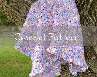 CROCHET PATTERN Zaylee Baby Blanket   Gifts for Baby   Nursery   Children   Kids   Afghan   Ruffles   Multi-colored