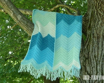 Agua Azul Baby Blanket   Handmade   Crocheted   Chevrons   Caron Cakes   Striped   Southwestern   Mexican   Indian   Fringe   Nursery   Blue