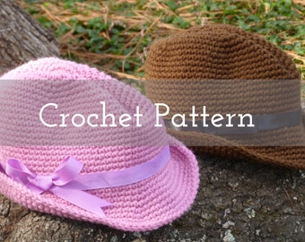 CROCHET PATTERN Snappy Fedora (3 Sizes)   Gifts for Her   Gifts For Him   Gifts for Kids   Hats
