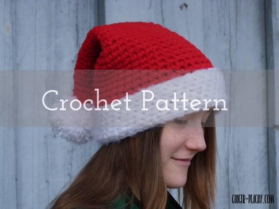 CROCHET PATTERN Chunky Santa Hat Elf Stocking Cap  238fa59fe54