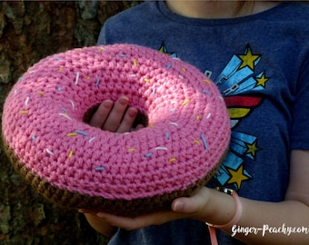 Scrumptious Donut Pillow   Crochet   Handmade   Sprinkles   Doughnut   Sweets   Candy   Chunky   For Kids   Bedroom   Pink   Frosting