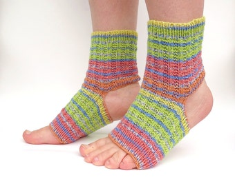 MADE TO ORDER Yoga Socks Toeless Pedicure Pilates Dance Shoes Footwear Hand Knit Rainbow Stripes Pink Green Yellow Orange