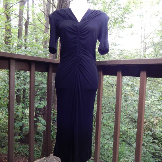 1940's Inky Slinky Black Swing Dress