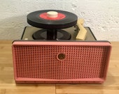 1954 RCA Victor 45rpm Portable Record Player, Full Restoration, 7EY1-JF Coral Charcoal Grey