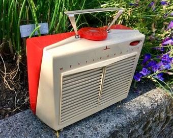 Red 1956 Westinghouse Radio, Portable AC/DC H598P4
