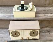 1954 RCA Victor Clock Radio and 45rpm Phonograph, Elec Restored, Mid Century Modern Duo