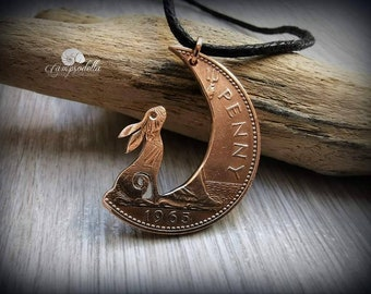 Hare in the Moon pendant handmade from coins, Moon Gazing hare jewellery in bronze, Campsodella Hare necklace made from recycled coins