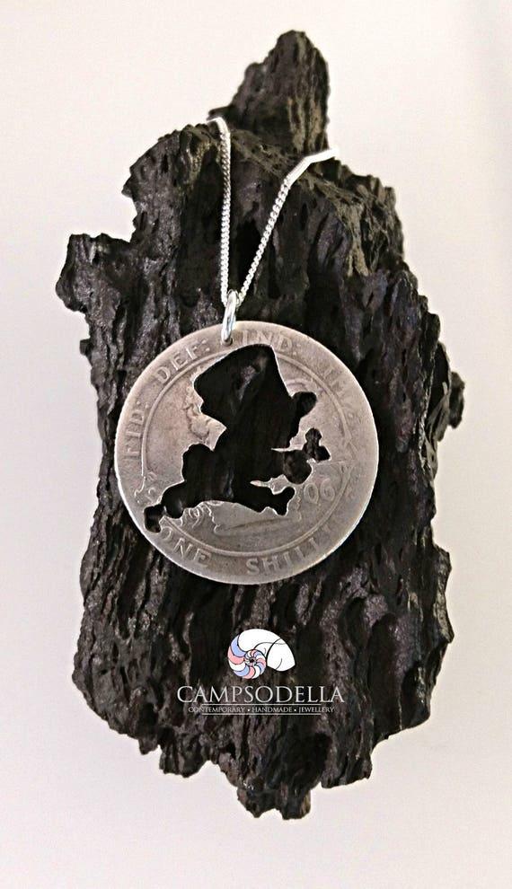 Mad Hatter Alice in Wonderland Glass Pendant Bronze Handmade Art Necklace Gift Present