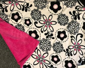flower hot pink fleece & minky stroller blanket, blankie, woobie, car seat blankie