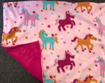 horse fleece stroller blanket, blankie, woobie, car seat blankie