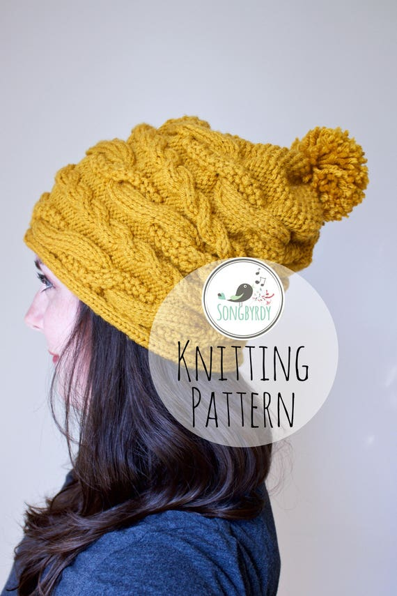 PDF PATTERN Cable Knit Slouchy Beanie Knitting Pattern  57a4254c5cb