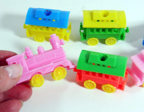 Tiny Plastic Train Birthday Candle Holders Vintage Cake Decor